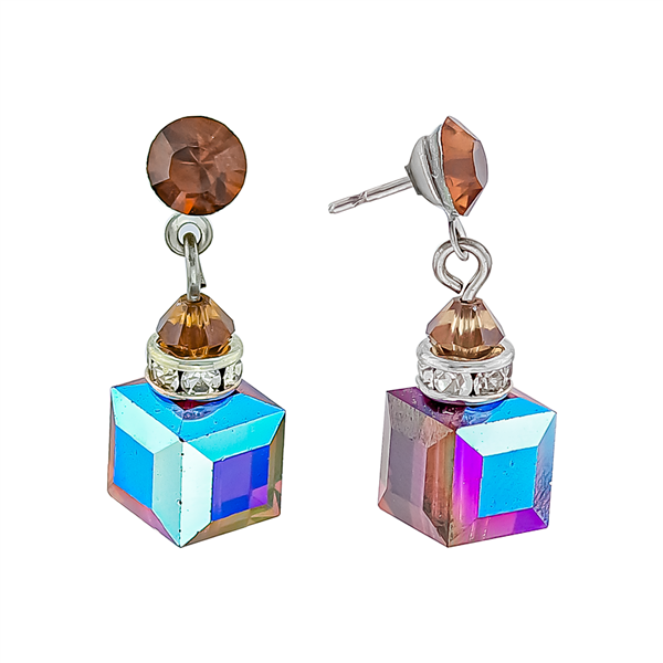 Brown Crystals in a Box Earrings