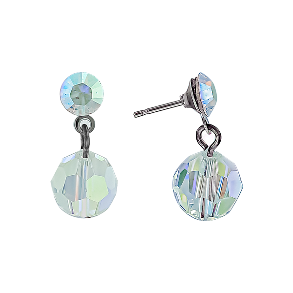 Dual Iridescent Crystal Drop Earrings