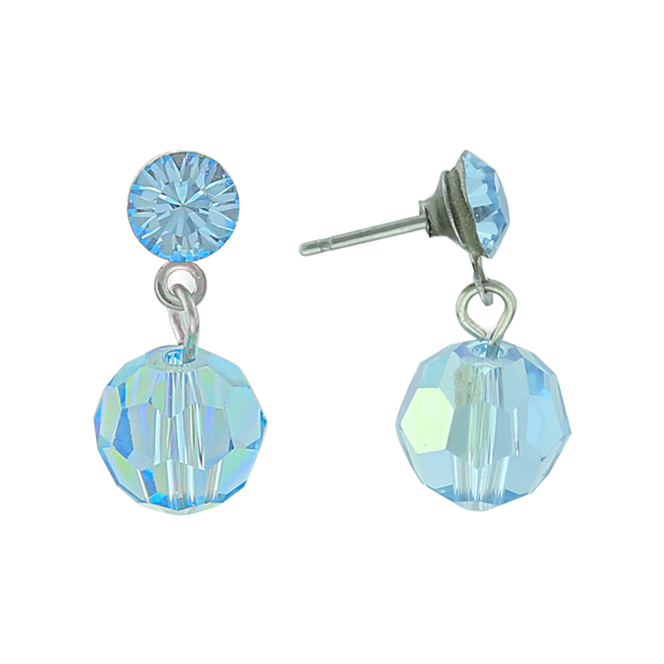 Dual Blue Crystal Drop Earrings