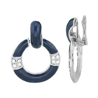 Simple Crystal Silver & Navy Round Dangle Clip-On Earrings