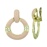 Simple Crystal Gold & Pink Round Dangle Clip-On Earrings