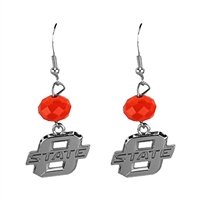 Silver Beaded Drop Earrings Oklahoma State Cowboy