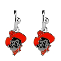 Dangle Logo Earrings Silver College OSU Pistol Pete