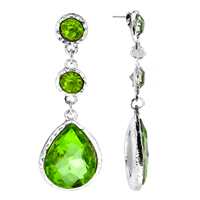 Gorgeous Sparkling Green Crystal Dangle Silver Stud Earrings