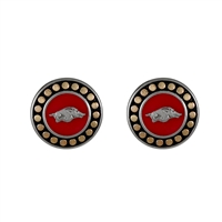 Round Pendant Earrings Arkansas Go Hogs