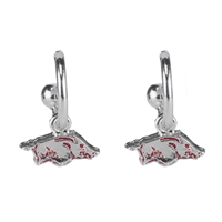 Dangle Logo Earrings Silver College Razorbacks