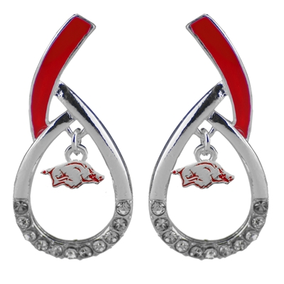 U of A Silver Rhinestone Earrings Licensed College Jewelry Cardinals