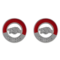 Two-Tone Circular Logo Studs Silver Earrings UARK College Jewelry