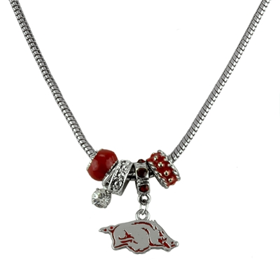 College Fashion Crystal University of Arkansas Logo Charms Natalya Necklace