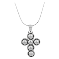 Stylish Spiritual Silver Bubble Cross Pendant Necklace