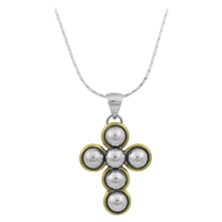 Stylish Spiritual Two-Tone Bubble Cross Pendant Necklace