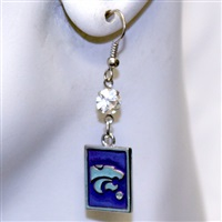 Square Dangle Earrings Kansas State Wildcats