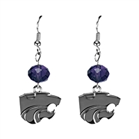 Silver Beaded Drop Earrings Kansas State Wildcat