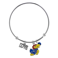 College Fashion Crystal University of Kansas Logo Charm Tassel Beth Push Bangle Bracelet