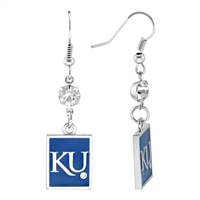 Square Dangle Earrings Kansas Jayhawks