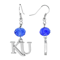 Silver Beaded Drop Earrings Kansas Jayhawk