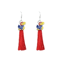 College Fashion University of Kansas Logo Charm Tassel Post Dangle Eambi Earrings