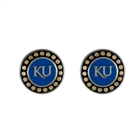 Round Pendant Earrings Kansas Rock Chalk Jayhawk
