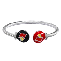 University of Louisville Cardinals Logo Team Colored Round Ends Silver Bangle Bracelet