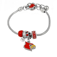 College Fashion Crystal University of Louisville Logo Charms Betsy Bracelet