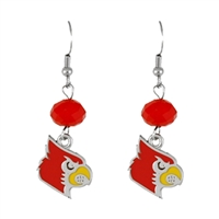 Silver Beaded Drop Earrings Louisville Cardinal