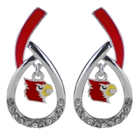 Louisville Silver Rhinestone Earrings Licensed College Jewelry Cardinals