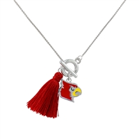 College Fashion University of Louisville Logo Charm Tassel Norma Necklace Lobster Clasp