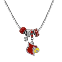 Silver Beaded Charm Necklace Louisville Cardinal