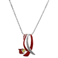 Silver Rhinestone Necklace U of L Licensed College Jewelry