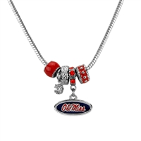 Silver Beaded Charm Necklace Ole Miss