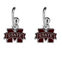 Dangle Logo Earrings Silver College MSU