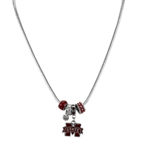Silver Beaded Charm Necklace Bulldogs