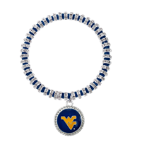 College Fashion Crystal West Virginia University Logo Charm Bicks Bracelet
