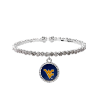 College Fashion Crystal West Virginia University Logo Charm Cuff Breeze Bangle