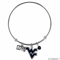 Coil Love Silver Charm Bracelet WVU Mountaineer Bangle Silver Jewelry