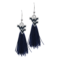 College Fashion West Virginia University Logo Charm Tassel Post Dangle Eambi Earrings