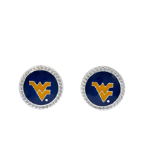 College Fashion West Virginia University Logo Charm Stud Eudi Earrings