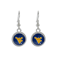 West Virginia University Mountaineers Logo Team Colored Round Charm Silver Earrings
