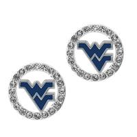 College Fashion Crystal West Virginia University Logo Charm Stud Eugenia Earrings