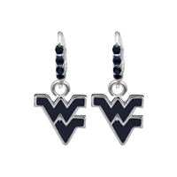 College Fashion Crystal West Virginia University Logo Charm Cuff Hoop Dangle Electra Earrings
