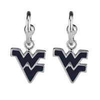 Dangle Logo Earrings Silver College WVU Navy Gold Jewerly