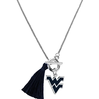 College Fashion West Virginia University Logo Charm Tassel Norma Necklace Lobster Clasp