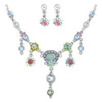 Gorgeous & Sparkling Colorful Flower Crystals Silver Toned Stud Dangle Necklace Set