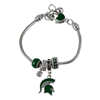 Michigan St Bead Charm Bracelet