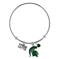 Coil Love Silver Charm Bracelet MSU Bangle Silver Jewelry