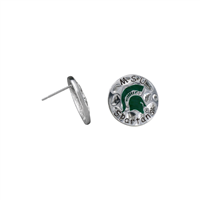 University of Michigan State Spartans Hammered Round Charm Silver Earrings