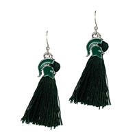College Fashion Michigan State University Logo Charm Tassel Post Dangle Eambi Earrings