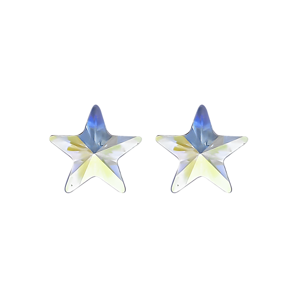 "3/8""  Blue/Gold Starburst Earrings"