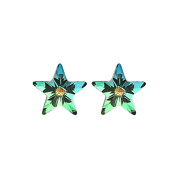 "3/8"" Iridescent Starburst Earrings"
