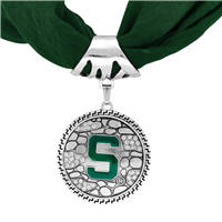 College Fashion Michigan State University Crystals Ornate Scarf Pendant Charm